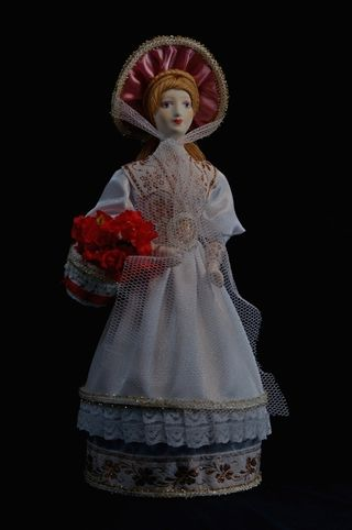 Doll gift porcelain. Lady with basket of flowers.Summer suit. 19th century.