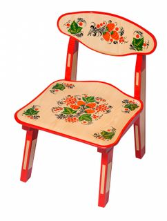 Khokhloma painting / Wooden children's chair with artistic painting, 0 height category