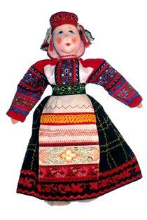Doll pendant souvenir. The Oryol province. Russia. Evdokia. Women's traditional costume. Textiles.