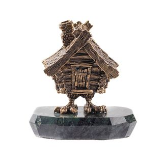 "Figurine-box ""Hut on chicken legs"" on the stone"