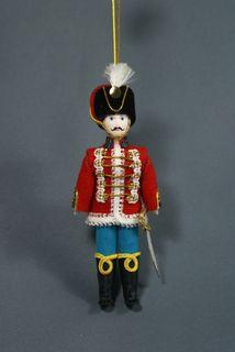 Doll pendant souvenir porcelain. Life Hussar (stylization). 19th century Russia.