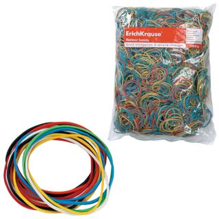 Universal bank rubber bands with a diameter of 60, 80, 100 mm ERICH KRAUSE 1000 g, colored, rubber