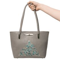 Bag made of eco-leather 'Madeleine' gray color with silver embroidery