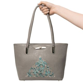 "Bag made of eco-leather ""Madeleine"" gray color with silver embroidery"