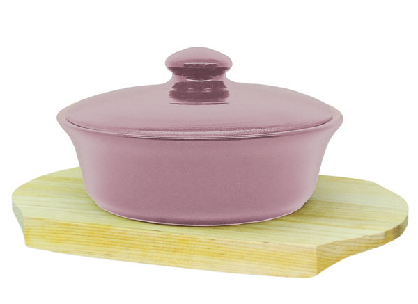 Vyatka ceramics / 0.5 L baking dish on a wooden stand (pink)