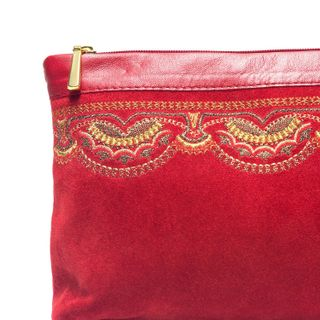 "Suede cosmetic bag ""Voskhod"" red with embroidery"