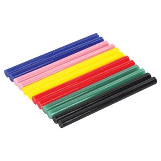 Glue rods, diameter 7 mm, length 100 mm, colored (assorted), SET 12 pieces, 6 colors, BRAUBERG, blister