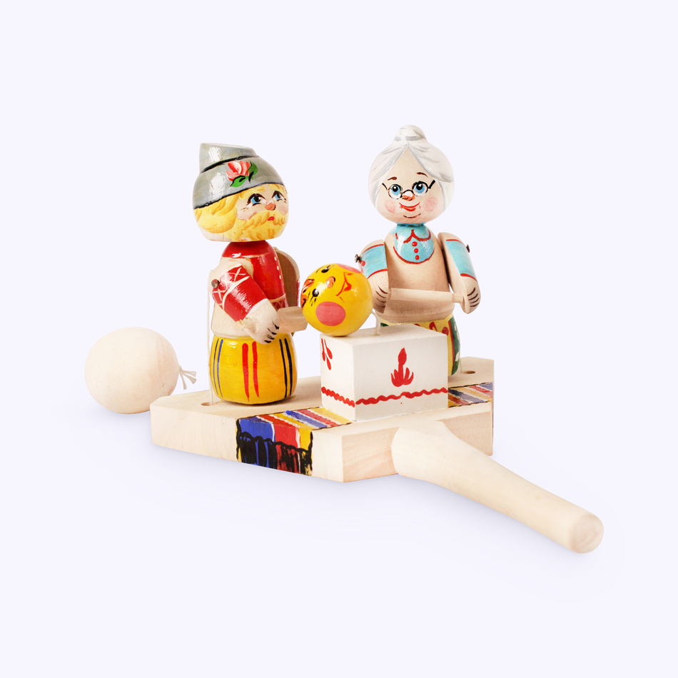 "Bogorodskaya toy / Wooden souvenir ""Grandfather, grandmother and bun"""