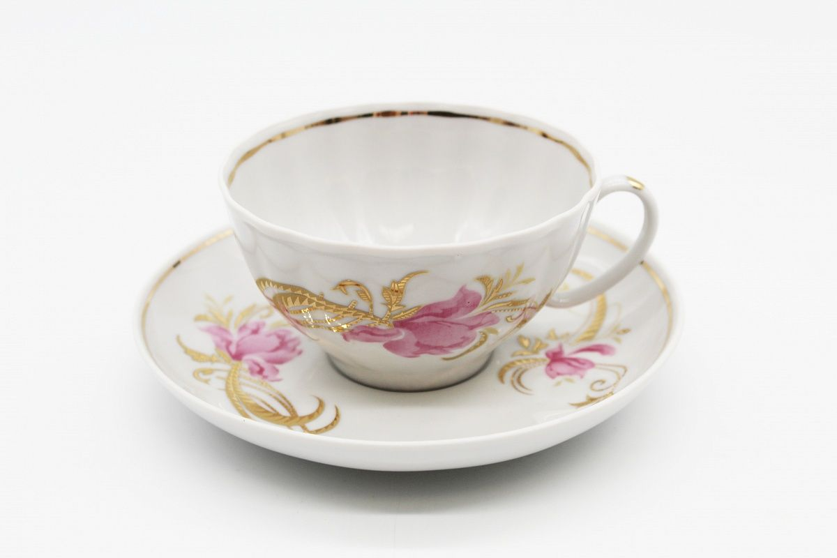 Dulevo porcelain / Tea cup and saucer set, 12 pcs., 275 ml White swan Firebird