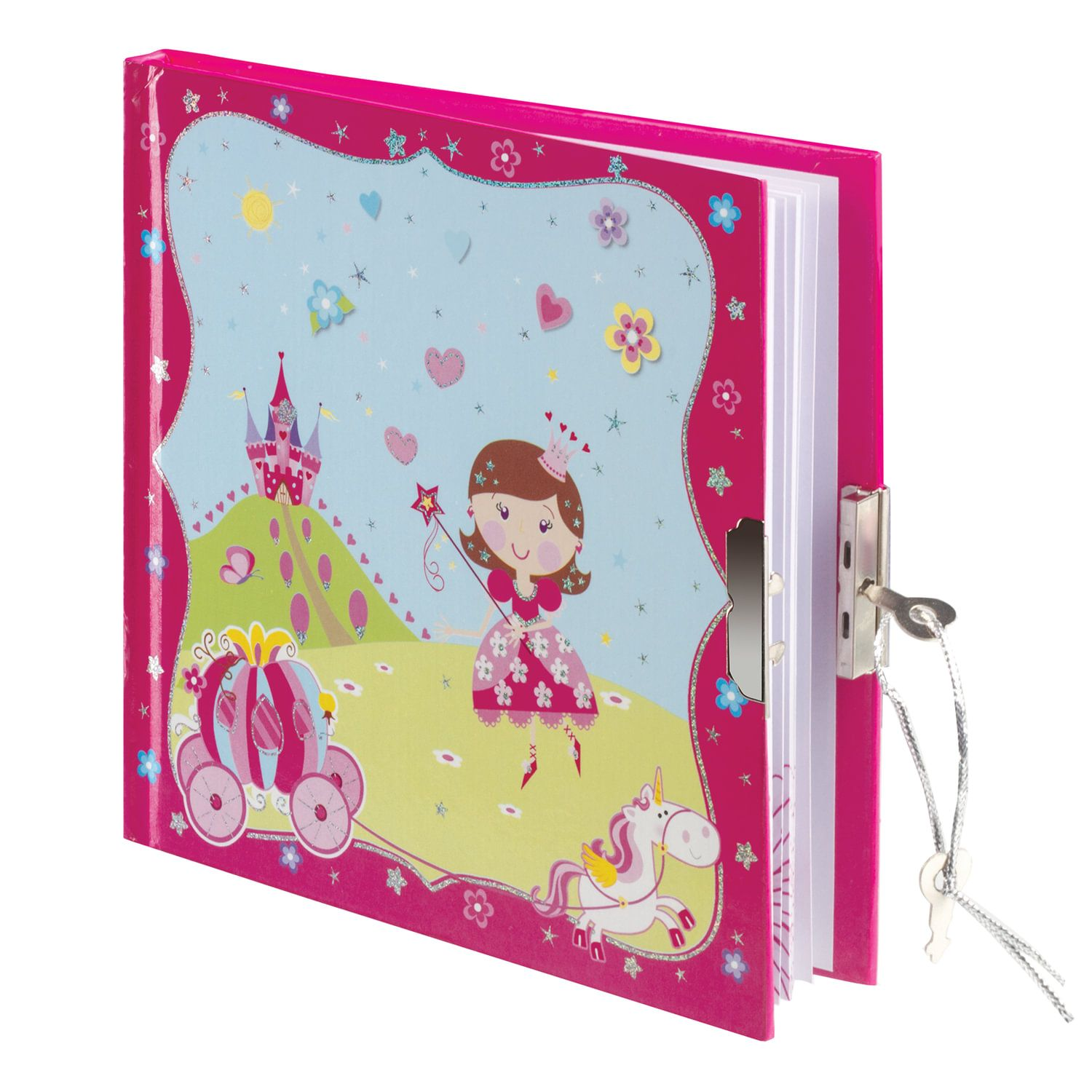 """BRAUBERG / Notebook """"Princess"""" SMALL FORMAT 60 sheets A6, 135x135 mm, hardcover, metal lock, sequins, line"""