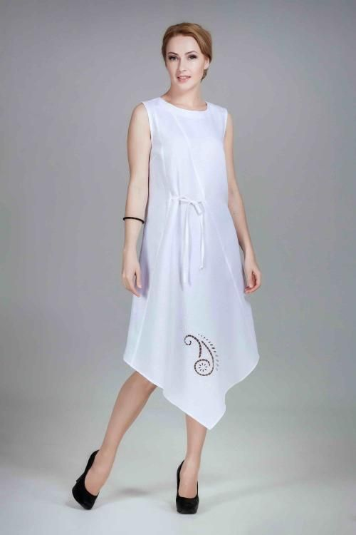Dress women linen sleeveless embroidery Richelieu