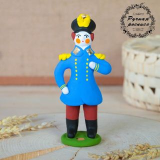 Dymkovo clay toy, the Officer in blue