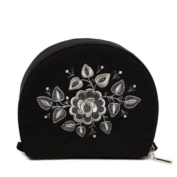 Cosmetic bag 'Wizard' black with a silver pattern