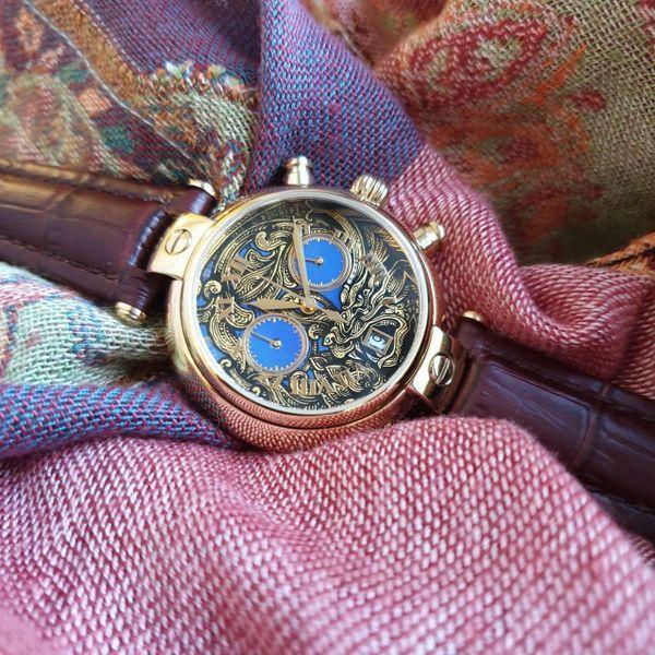 "Palekh watch ""Ornament No. 77"" chronograph-quartz, author's hand-painted, artist Chibisova, brown strap"