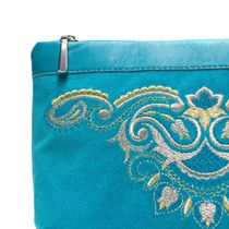 Suede cosmetic bag 'Morning' blue with silver embroidery