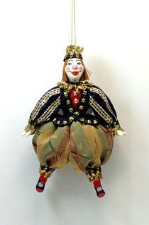 Doll pendant souvenir porcelain. Royal jester (stylization).