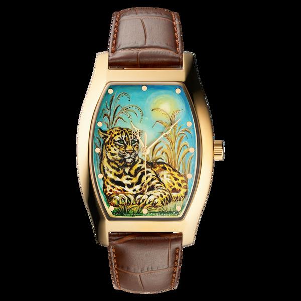 """Palekh watch """"Savannah №73"""" quartz, hand-painted, artist Kornilova, braun band"""