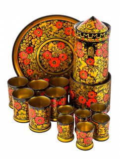 "Khokhloma painting / Set for wine ""Kremlin Tower"", Khokhloma painting, 14 items"