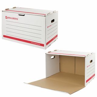 The box is archival (306х525х338 mm), corrugated cardboard, white, BRAUBERG