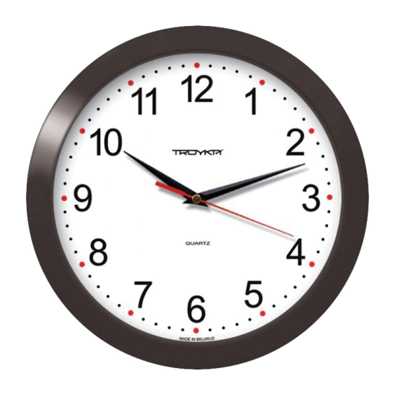 Wall clock TROYKA 11100112, circle, white, black frame, 29х29х3,5 cm