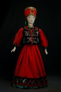 Doll gift porcelain. Moscow province. The fair maiden. Girl in birthday suit. The end of the 19th century.