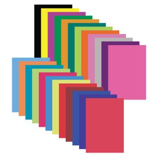 Coloured paper, A4, coated (glossy) 24 sheets 24 colours, on a bracket, INLANDIA, 200х280 mm,
