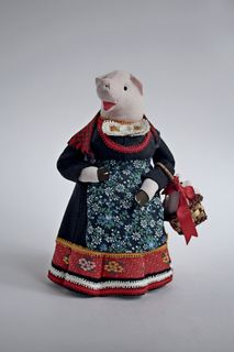 Souvenir doll - Pig with piglet of piglets