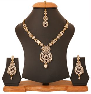 Touchstone Golden Plated Indian Bollywood White Rhinestones Bridal Jewelry Necklace Set For Women
