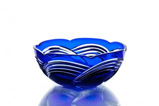 "Crystal salad bowl ""Russian spaces"" medium blue"