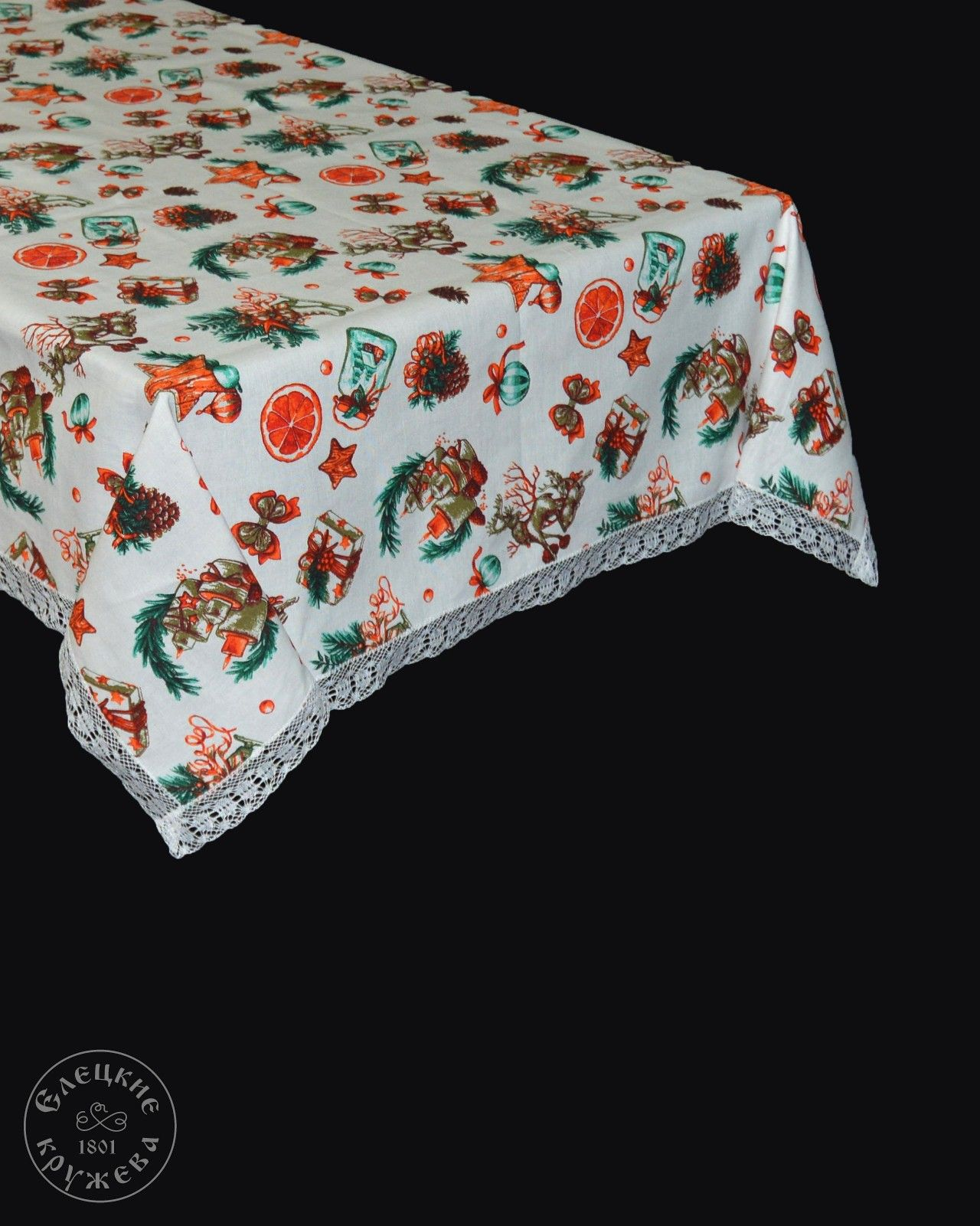 Yelets lace / Linen tablecloth S2247Ts