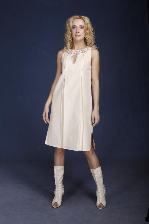 "Women's dress ""A La Russ"" with embroidery and lace"