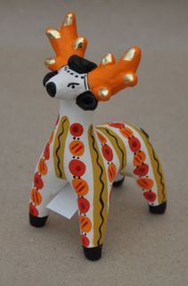 Dymkovo clay toy Deer with orange horns