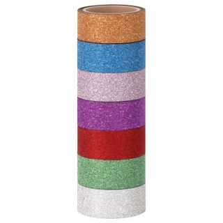 Polymeric adhesive tapes for decoration with sparkles