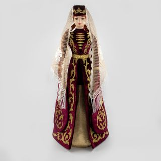 Doll Ossetian in a Burgundy suit, the patterns made with the technique Zolota embroidery, Asik, 34 cm