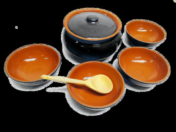 Vyatka ceramics / Tableware set (black amber)