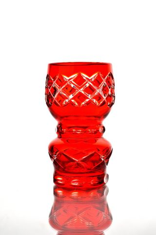 "Crystal vase for flowers small ""Dubrava"" red"
