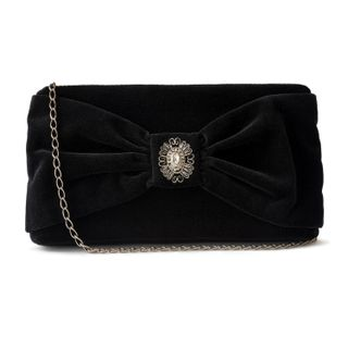 """Velvet clutch """"Romance"""" in black with silver embroidery"""