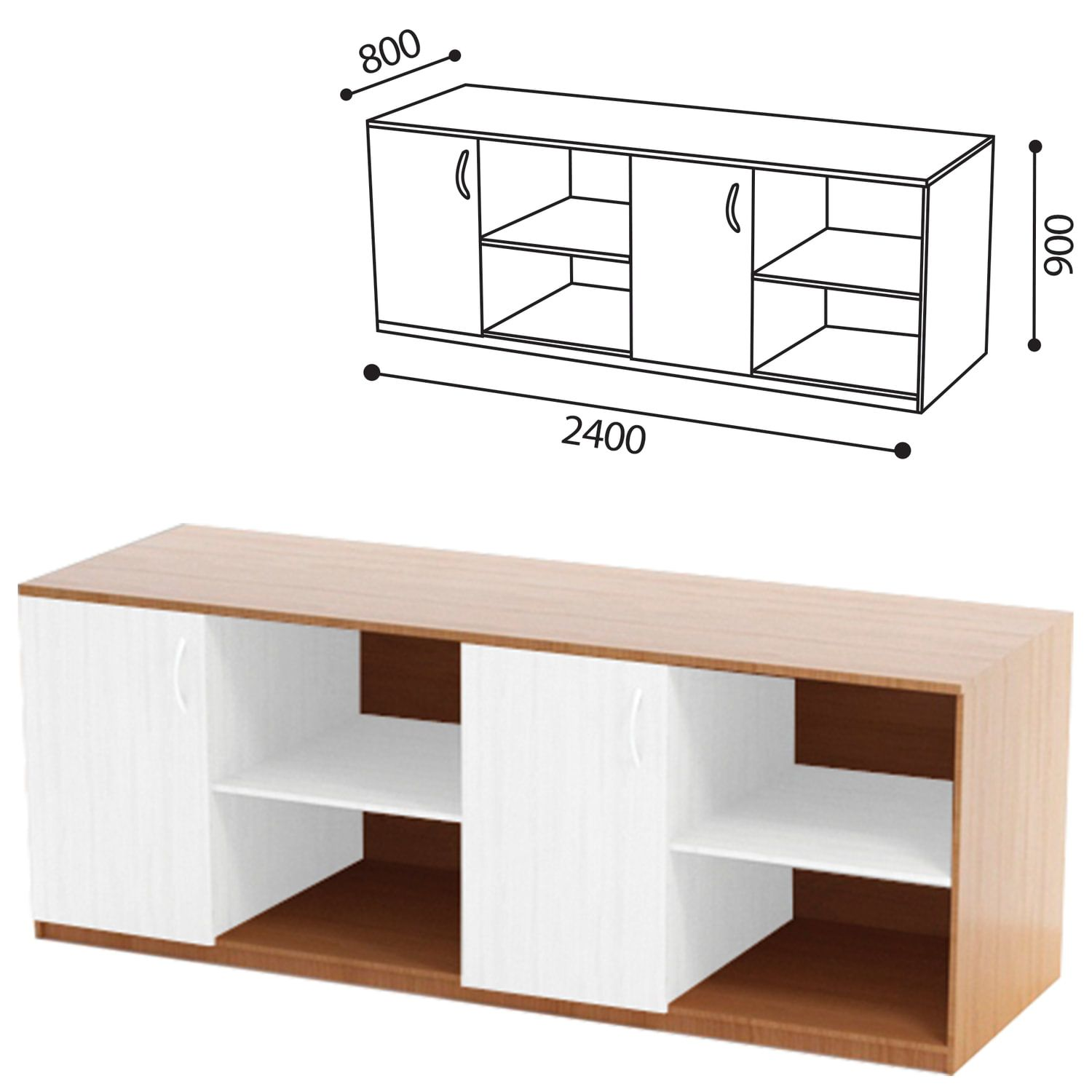 Table (PABLET 1) for the physics cabinet, 2400 x800s900mm, LDSP beech/plastic