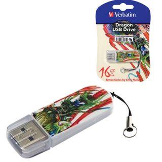 VERBATIM / Flash Drive 16 GB, Mini Tattoo Edition Dragon, USB 2.0, white with pattern