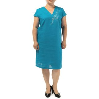 """Women's dress """"Watercolor"""" blue with silk embroidery"""