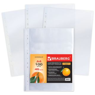 Folders, files, perforated, A4, BRAUBERG, set of 100 pieces, the