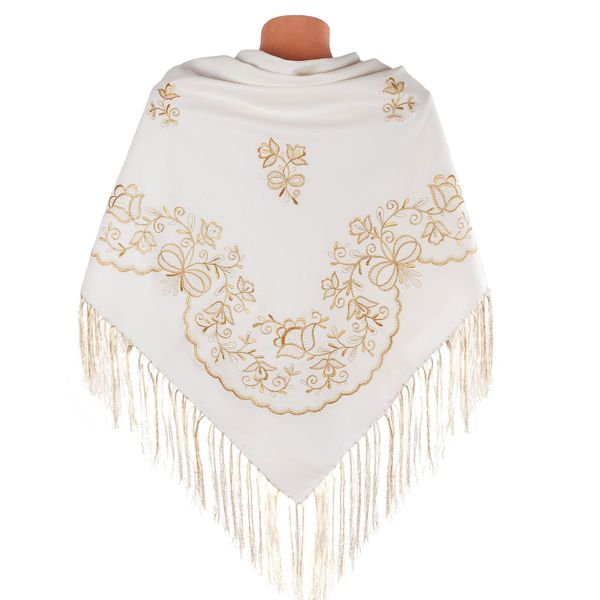 Handkerchief Bouquet beige with gold embroidery
