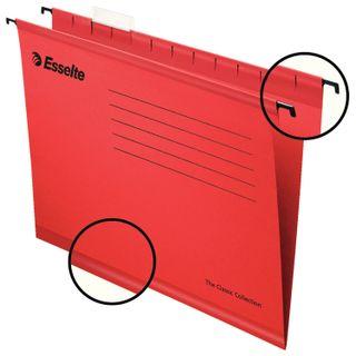 Hanging folder A4/Foolscap (400х240 mm), 300 sheets, SET of 25 PCs, red cardboard ESSELTE