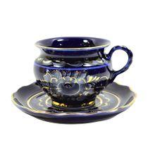 A couple of tea Clove cobalt paint gold, Gzhel Porcelain factory