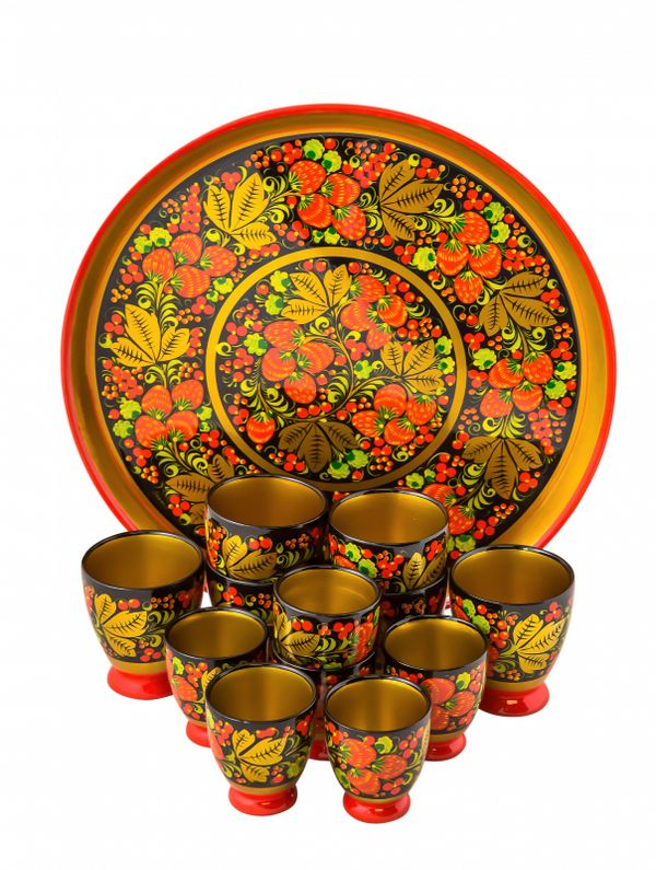 Set for a drink, Khokhloma painting, 13 items