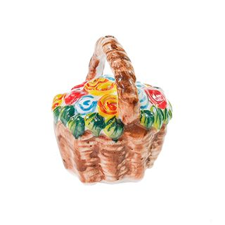 "Souvenir ""Basket of flowers"" podglazurnaya colored paint, Gzhel Porcelain factory"