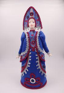 Gift porcelain doll Girl in Russian folk costume, 30 cm