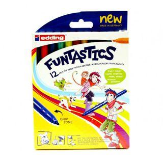 Edding / Funtastics Drawing Pen Set, 1mm, 12 Colors, 12 Colors Carton