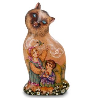 """Wooden figurine """"Cat painted"""""""