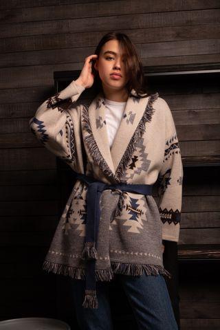 Jacket women's Merino with strap, color: white, blue melange, beige, light grey, TRICARDO, one-size, 164